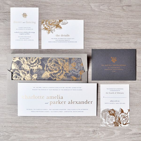 long horizontal layout makes this invitation unique. Romantic floral pattern with metallic ink highlights are chic and elegant
