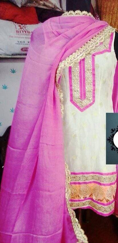 Pink white punjabi salwar kameez❤️ @SRandhawa