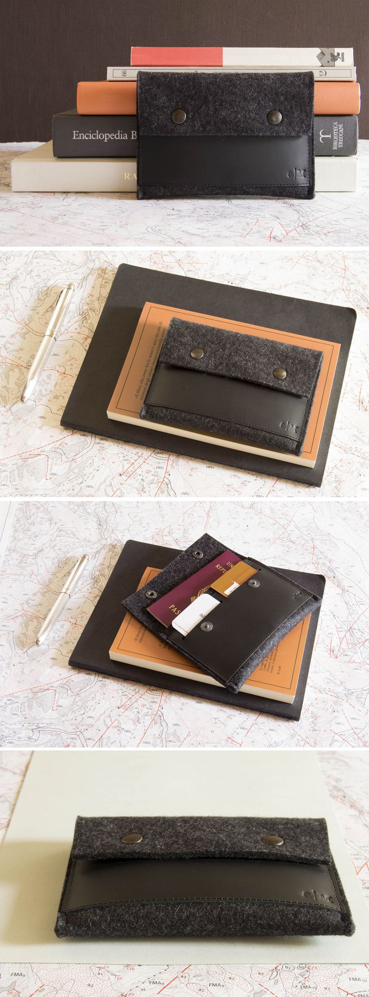 Passport wallet - wool felt and vegetable tanned leather - black - Made in Italy #passportwallet #passport #case #wallet #traveling