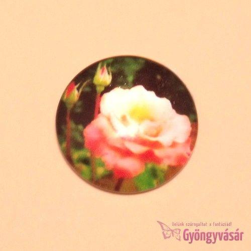 Rózsa mintás, 25 mm-es üveglencse • Gyöngyvásár.hu