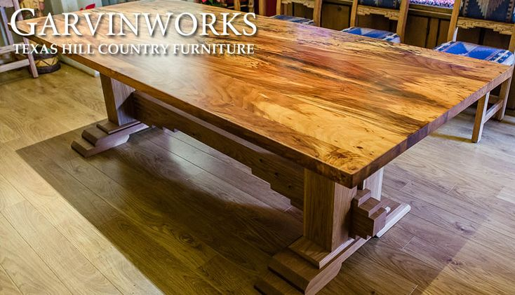 southwestern spalted pecan and oak trestle dining table