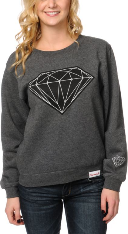Diamond Supply Co. Girls Big Brilliant charcoal grey sweatshirt