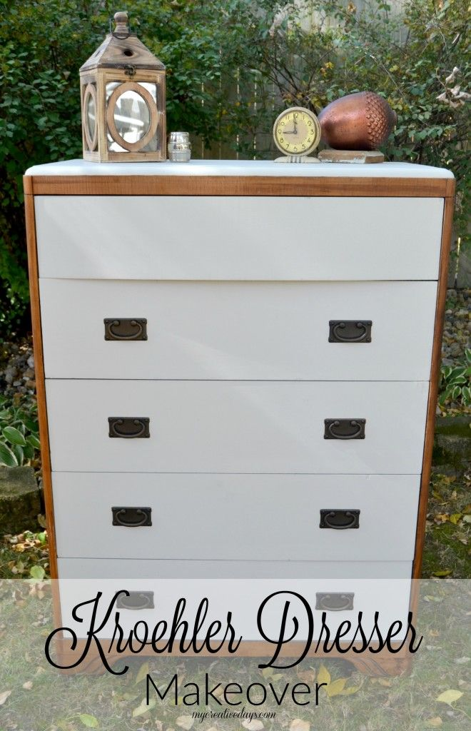 This Kroehler Dresser Makeover was made easy with some paint and beautiful hardware from @HickoryHardware