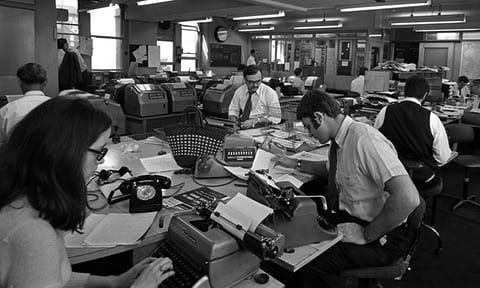 The office of United Press International news and picture agency in May 1970.  Photograph: Popperfoto/Getty Images