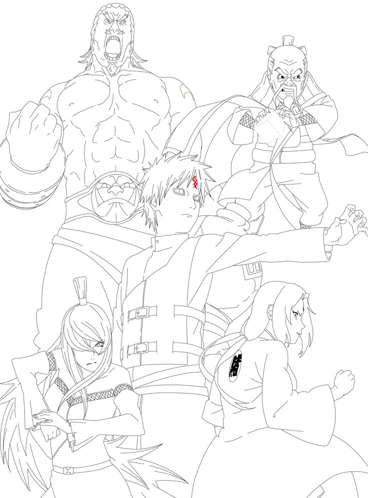 Naruto 5 Kage Lineart by NinjaMia on DeviantArt Dessin
