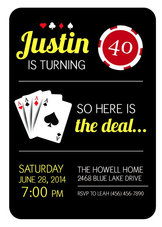Casino Party Theme- Casino Theme- Las Vegas Party Theme- 40th Birthday Theme- Casino Night Invitation on Etsy, $10.95