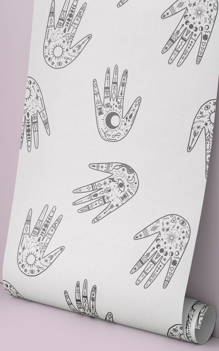 Decorate your space with mystic charm. Our Palm Reader wallpaper in minimal Black and White colours is a repeat pattern of hands, illustrated with detailed symbols that'll add to the cosmic style of your interiors. This wallpaper is the ideal upgrade for the plain white wall in your Boho bedroom or eclectic living room. Or, why not use this pattern as the magical backdrop to a personal chill-out zone, full of string lights, books and plants. Witchy Wallpaper, Forest Wallpaper, Flower Wallpaper, Wallpaper Ideas, Pattern Wallpaper, Daybed In Living Room, Eclectic Living Room, Childrens Shop, World Map Wallpaper