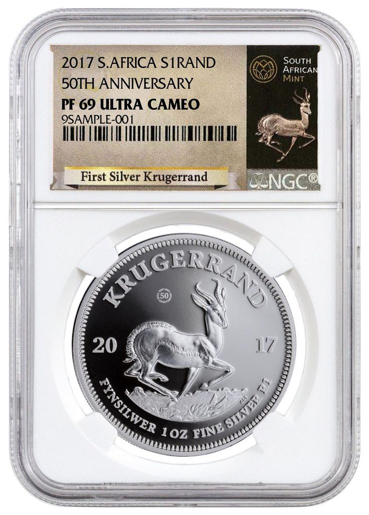 2017 1 OZ SOUTH AFRICA KRUGERRAND .999 SILVER PROOF COIN (NGC PF69 ULTRA CAMEO - EXCLUSIVE KRUGERRAND LABEL). #bullion #mint #silver #inventory #coins