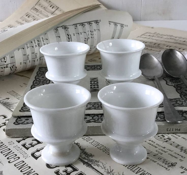1850's porcelain egg cups. 4 French antique Coquetiers. White French egg cup. French chic diningware. French vintage tableware by frenchvintagebazaar on Etsy