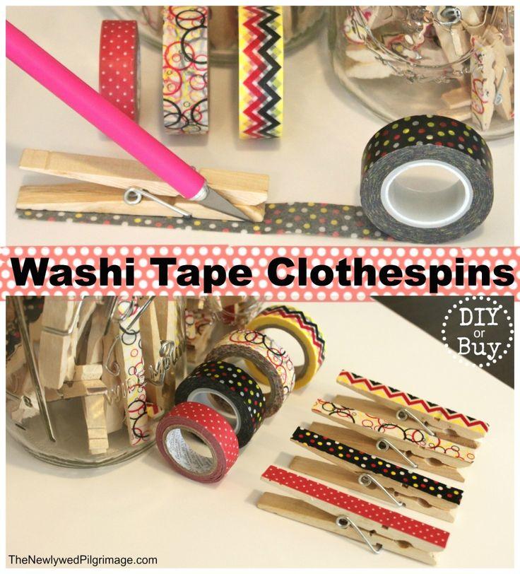 Washi Tape Clothespins DIY Tutorial