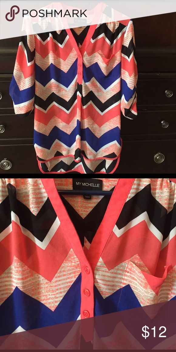 Chevron shirt Chevron sheer shirt, only worn a few times. Excellent condition. My Michelle Tops Blouses
