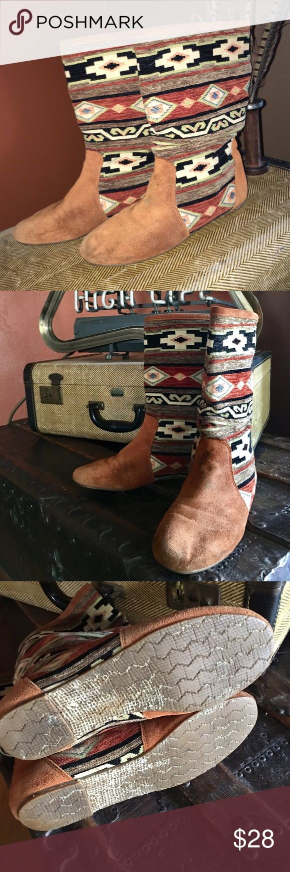 Vintage Aztec Zodiac boots Rad pair of vintage Zodiac boots with suede & Aztec tapestry. The sole & surface show some wear, but a light surface cleaning & they'd be even more amazing then they already are😍 Vintage Shoes Ankle Boots & Booties