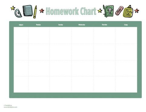 Free Homework Chart Printable Homework Charts & Calendars  Get kids organized with homework charts and chore charts, plus calendars, too! Find more handy back-to-school printables, back-to-school crafts, and even back-to-school tips for making the transition from summer to school much easier.     Free Kids' Calendar with Activity Stickers   familyfun.go.com
