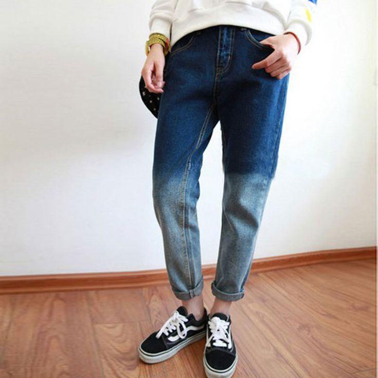 Denim Jeans For Women Plus Size XL Boyfriend Jeans For Women Blue Jeans Woman Loose Gradient Vintage Women Jeans