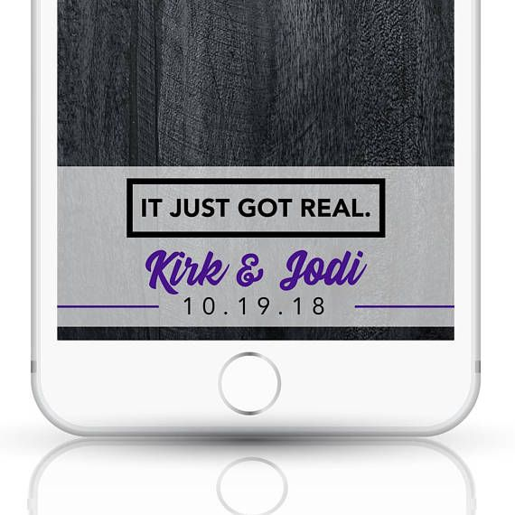 ***IT JUST GOT REAL***  Add some extra excitement to your wedding day with this custom Snapchat geofilter! The filter will be edited with the names you pick, in addition to the date. Colors are completely customizable as well! This funny filter is great if you want to add a little humor to your big day. The white part of this filter is set to an opacity so youll be able to see a bit behind it as well, while always being able to see the text in the filter…