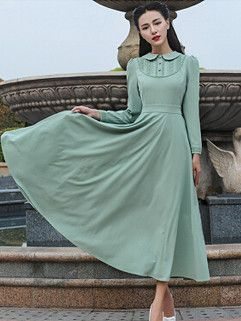 Cute And Beach Style Dress Solid Color Doll Collar Long Sleeve Dress Green Maxi Dress