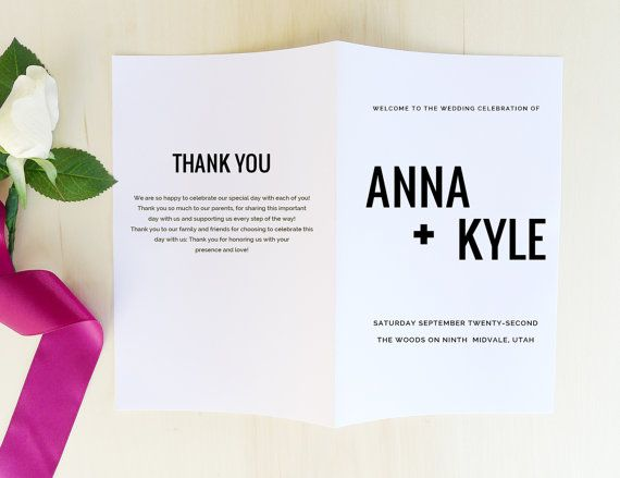Πάνω από 25 κορυφαίες ιδέες για Modern wedding program στο - how to design wedding program template