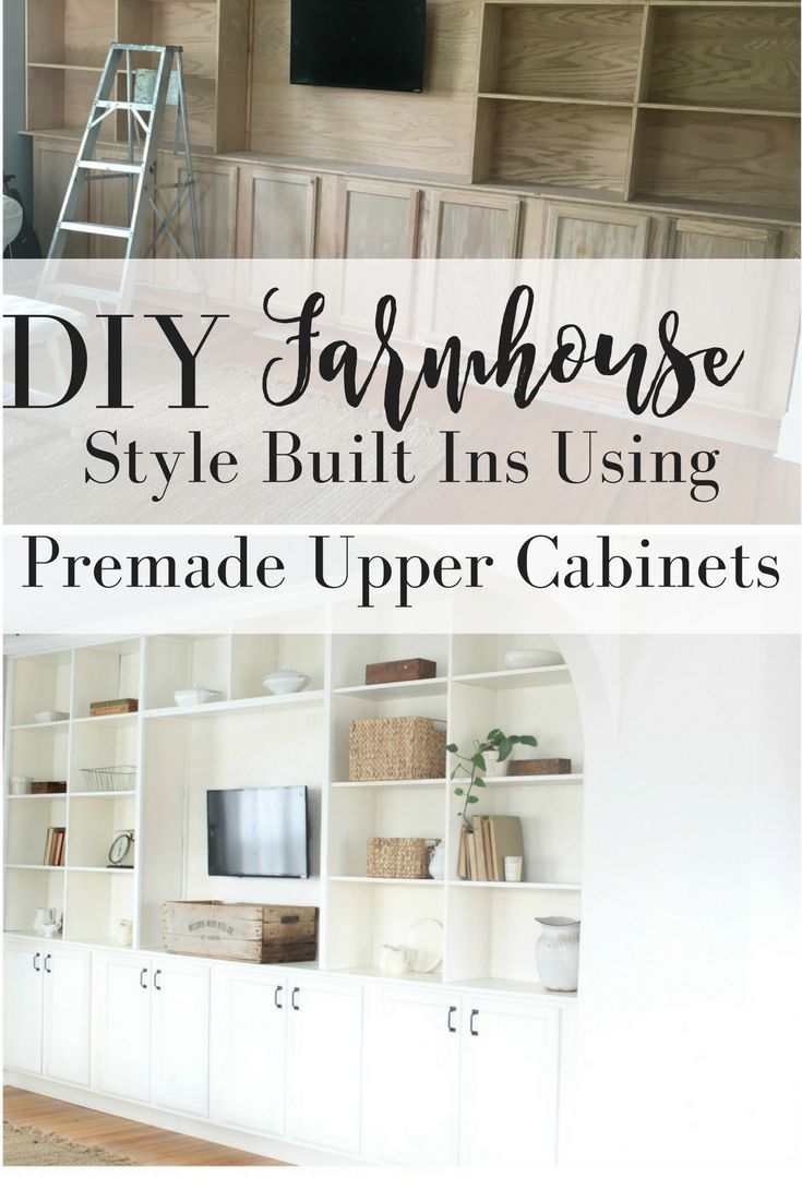 Diy farmhouse style built ins using premade upper cabinets for Premade kitchens
