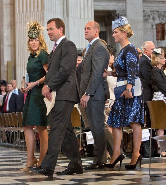 Peter Phillips and wife Autumn Phillips arrive with Zara Phillips and husband Mike Tindall for a service of thanksgiving for Queen Elizabeth II's 90th birthday at St Paul's cathedral on June 10, 2016 in London, United Kingdom.