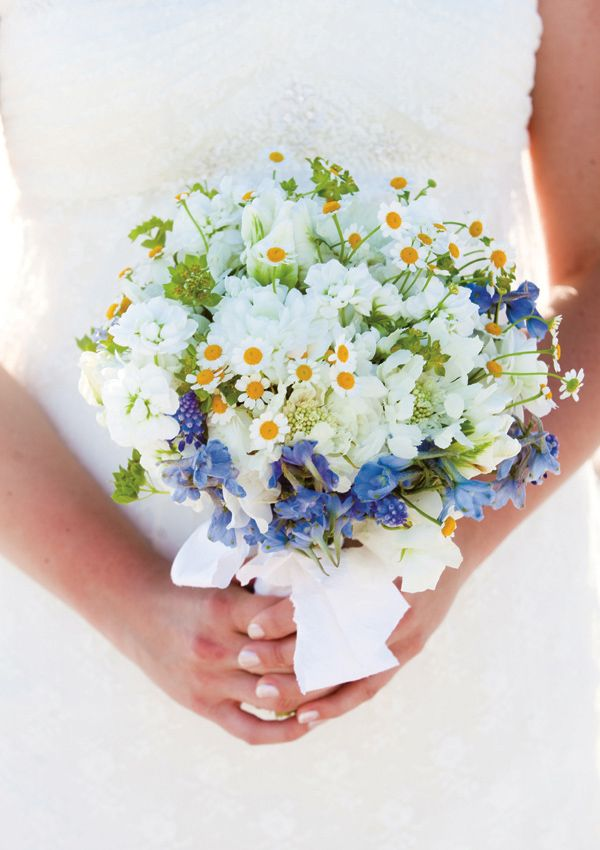 delphinium, muscari, and fever few bouquet by Myrtie Blue, photographed by Lauren Kinsey