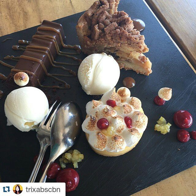 Why to choose between this mouth-watering lemon tart, apple #pie or bitter #chocolate bar with a cool #vanilla #icecream, when you can indulge in all of the above? It's the ultimate #sweet inspiration!  Photo by our esteemed guest trixabscbn at Instagram
