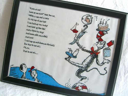Cat in the Hat cross-stitchHats Crosses Stitches, Hands Embroidered, Doctors Seuss, Amazing Embroidered, Seussical Stitches, Dr. Seuss, Cross Stitches, Hats Embroidery, Embroidered Cat