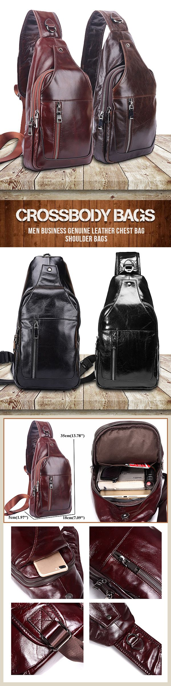 US$59.99+Free shipping.Men Business Bags, Men Genuine Bag, Leather Chest Bag, Shoulder Bags, Crossbody Bags.Color: Black, Brown, Coffee, Dark Brown.Exquisite Workmanship, Large Capacity Inside, Great For Casual&Outdoor Using.