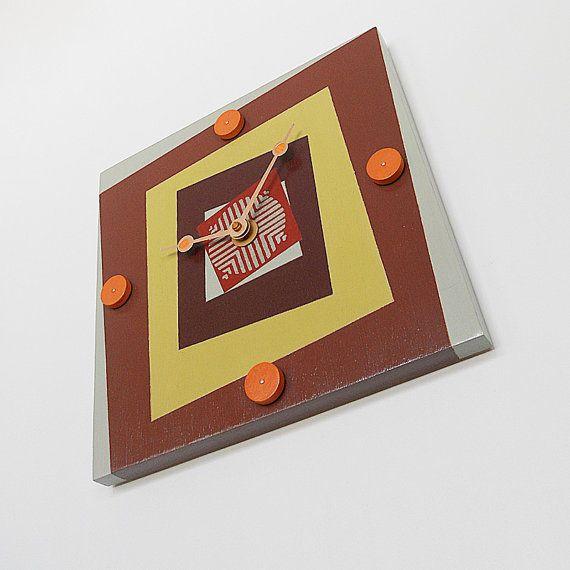 SQUARE: retro geometric wood wall mount clock