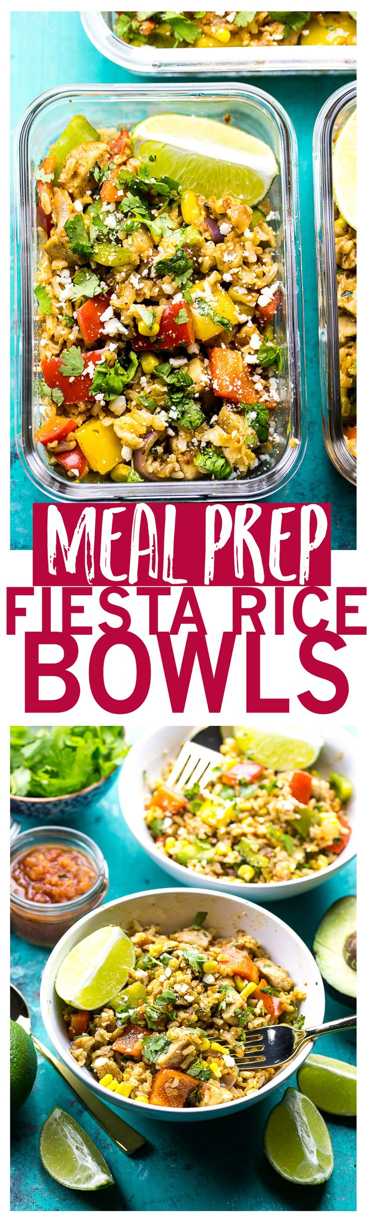 Fiesta Chicken Rice Bowls | Gluten-free | 20-Minute Meal Prep
