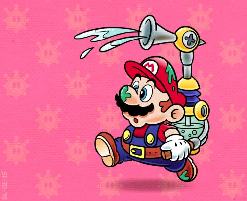 scottmattlewis:  I've always liked the early 90s style Mario promo art. I wanted to try emulating it using Mario Sunshine as a base.