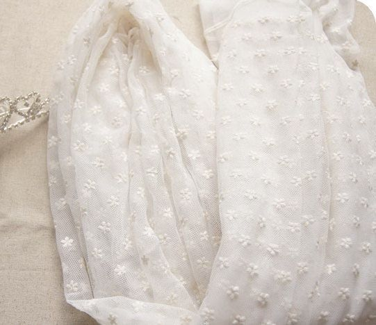 This lace fabric is chic and fresh, with dot embroidery .  *Lace fabric: ivory in color , fully embroidered with dot floral embroidered lace, fresh and soft gauze , with nice drape .  * Size : fixed width is about 150cm/ 59 inches, listing is for 35 x 59 , that is a full yard, if you buy more, you will get a uncut piece .  * Soft and Romantic. This fresh lace fabric is perfect for wedding, apparel, curtain, home decor OR... whatever you can dream up.  * Wholesale accetpable , pls convo m...