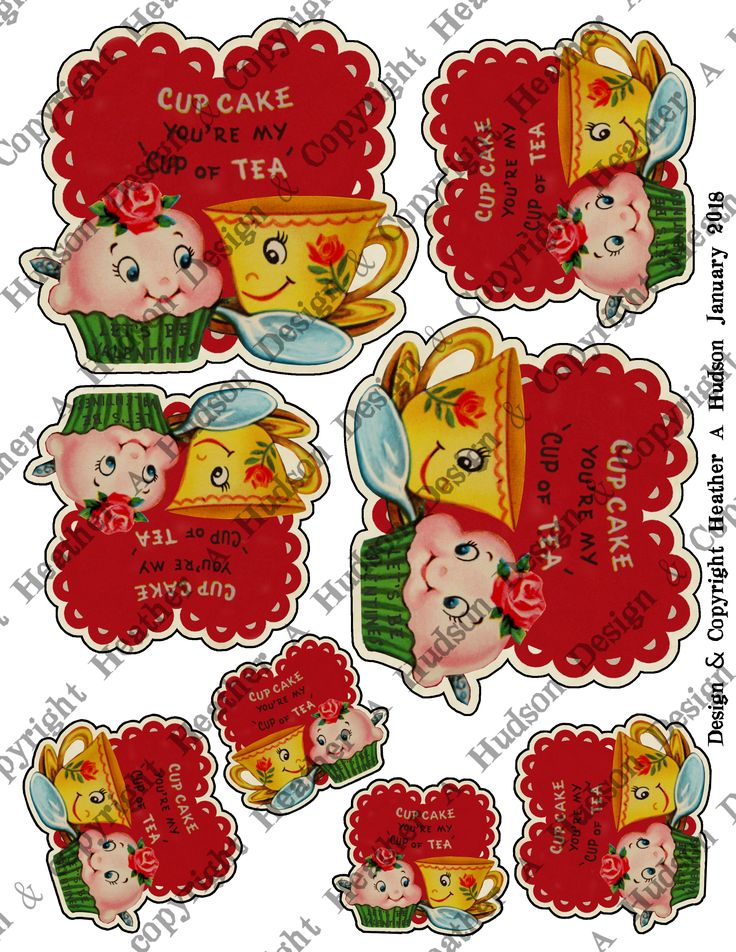 Super Cute Retro Valentine's Day Tea Cup, Cupcake and Heart Digital Collage Sheet that I designed using an old Valentine image.  Great for Your Valentine's Day Projects. Thanks for looking! Heather