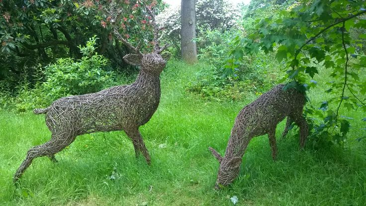 Deer. Willow sculptures. Ramster Gardens Surrey UK