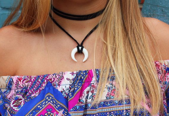 double horn choker by BeadzOnAString on Etsy