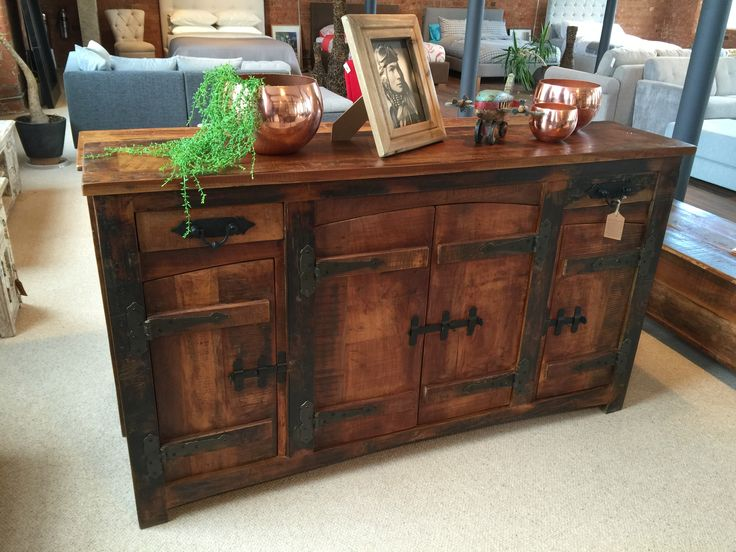 Rustica Upcycled TV Plasma Unit, made from reclaimed wood which in most cases is more than a hundred years old, giving this TV Unit a authentic, rustic look. #rusticdesign #reclaimedwood