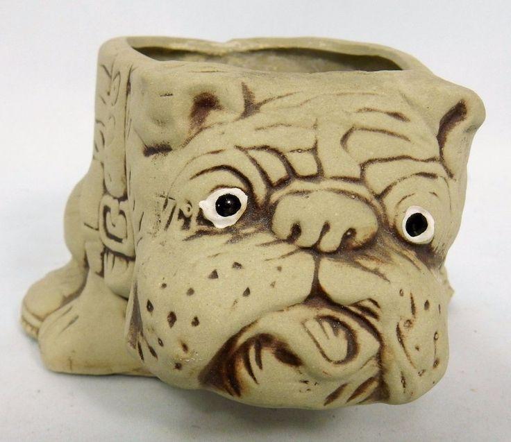 English Bulldog Planter Beige Vintage