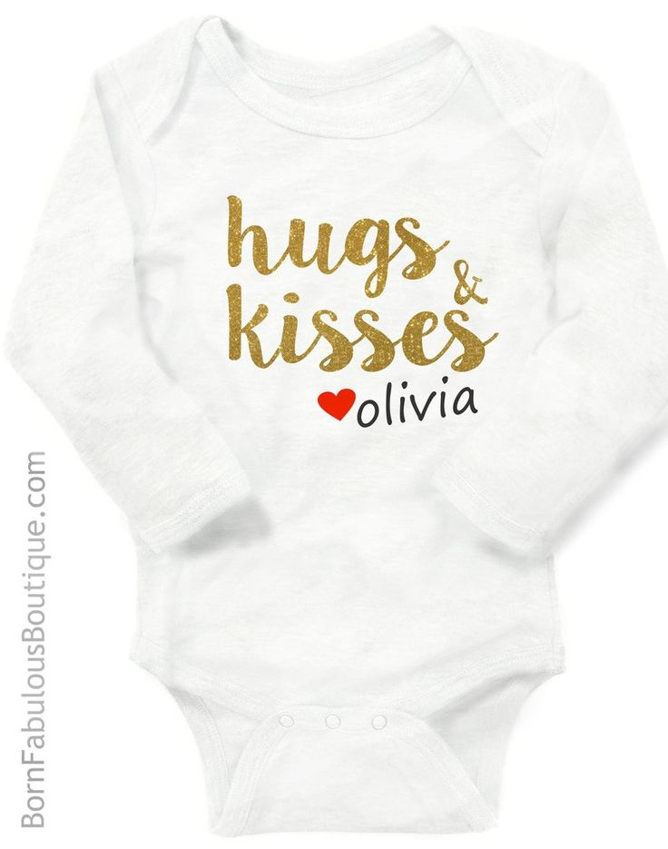 24 best baby girl clothes images on pinterest onesie baby boy baby girl personalized with name white onesie hugs and kisses cute new baby gift negle Choice Image