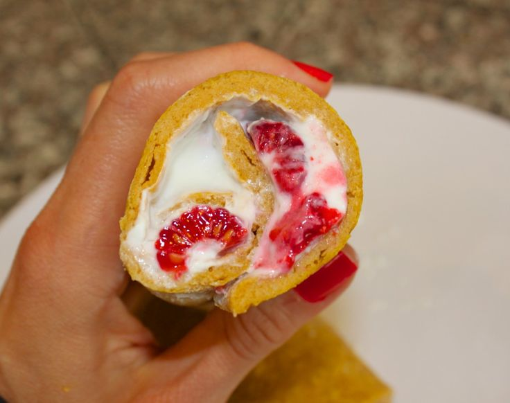 Pumpkin Protein Pancake Roll-Up with Raspberry Cream Cheese Filling