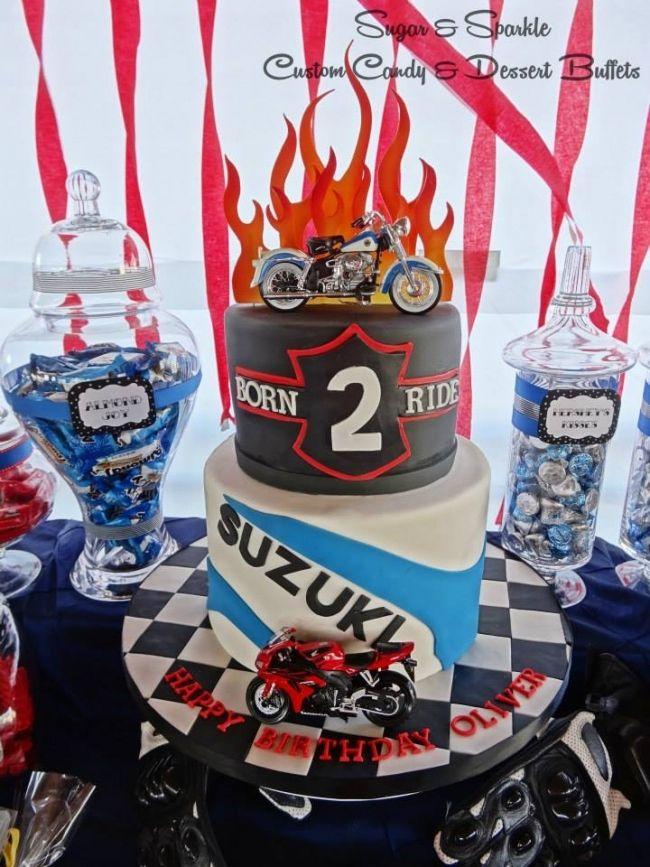 boy's motorcycle birthday party cake www.spaceshipsandlaserbeams.com