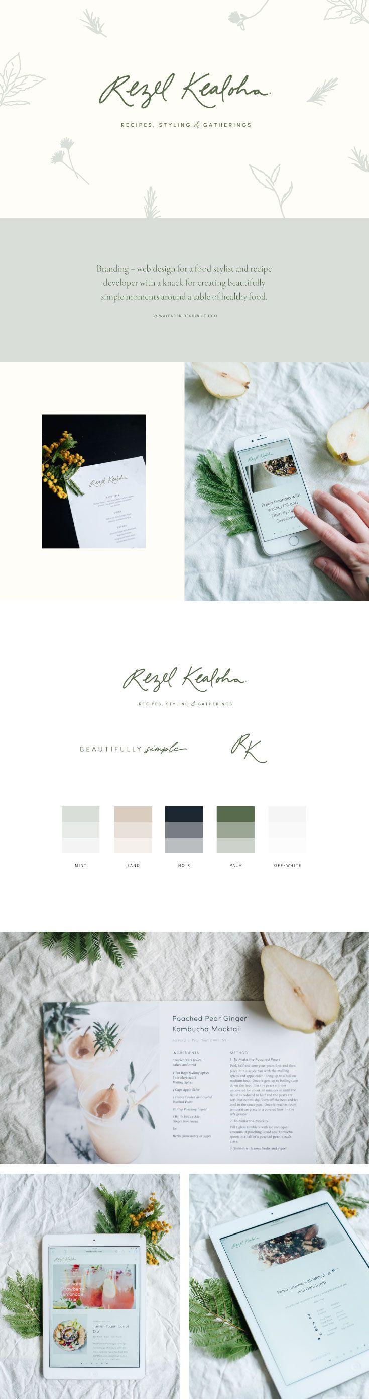 Branding + website design for Rezel Kealoha by Wayfarer Design Studio // design, branding, brand, brand identity, logo, logos, graphic design, identity, web, website, website design, blogger, food blogger, blog design, recipe, lettering, hand lettering, food, blogging