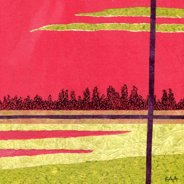 Liz Arnold View from a WIndow Inspired by Australian Landscapes. Collage onto matboard 18x18cm unframed $95