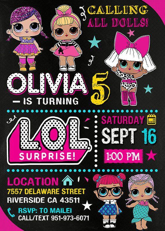 Lol Surprise Dolls Invitation Lol Surprise Lol Surprise