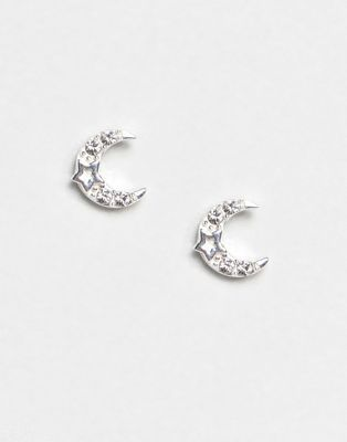 98898b99b Shop Accessorize Sterling Silver Swarovski half moon stud earrings at ASOS.  Discover fashion online.