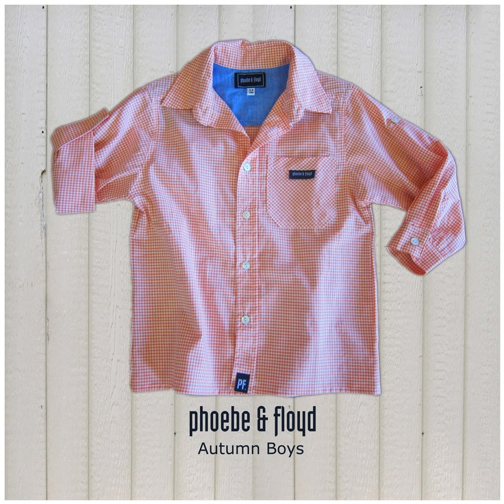 Yarn Dyed Orange Gingham Long Sleeve Roll Up Shirt