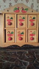 ROOSTER AND CHICKEN FOLK ART ANTIQUE WOODEN WOOD SPICE RACK CABINET