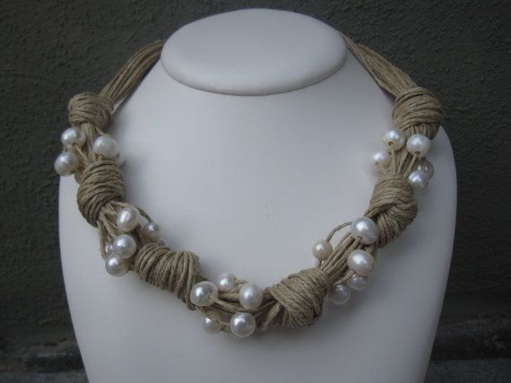 Necklace Natural Linen Knots Frehswater Pearls by espurna88