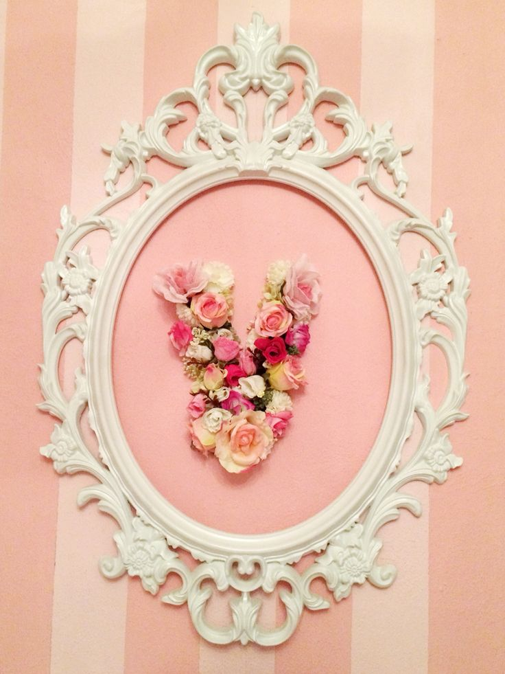 Floral initial letter V made with flowers shabby chic vintage frame oval frame