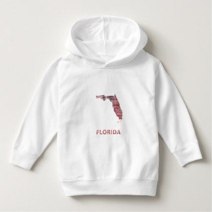 Florida map outline Striped red watercolor design Hoodie - light gifts template style unique special diy