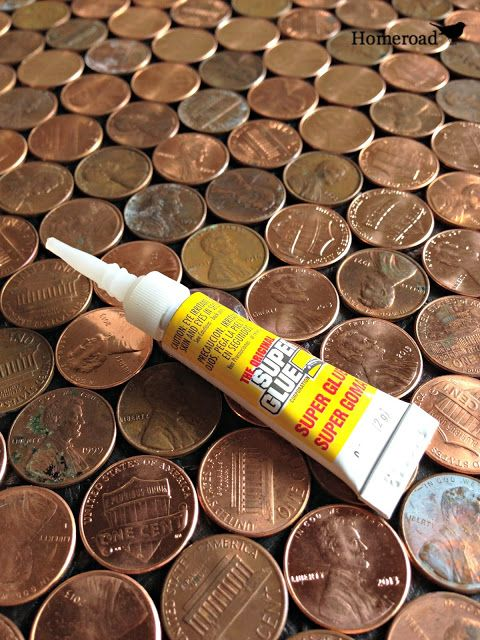 The best glue to use to glue down pennies for an awesome countertop or desk top... www.homeroad.net