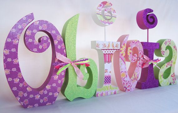 Wooden Nursery Letters Children's Decor Set of 6 by thepatternbag, $72.00